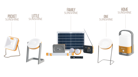 Group of 5 Solar Lamps from TOTAL Sunshine range
